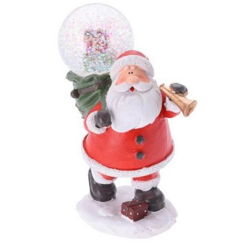 Dekofigur Weihnachtsmann mit Schneekugel