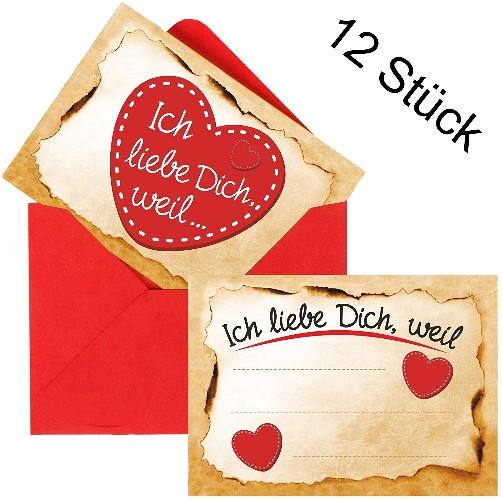 12er Set Ich-Liebe-Dich-Weil-Karten inkl. Umschläge