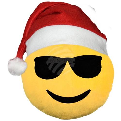 Emoticon mit Weihnachtsmütze